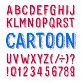 Cartoon alphabet font. Dirty letters, numbers and symbols on white background. Stock vector typeface for any typography design Royalty Free Stock Photo