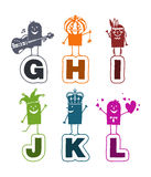Cartoon alphabet - G to L vector illustration