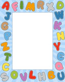 Cartoon Alphabet Photo Frame. Photo frame with funny colorful cartoon alphabet for kids. Eps file available stock illustration