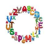 Cartoon alphabet round frame. On white background. Vector illustration stock illustration