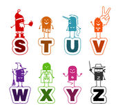 Cartoon alphabet - S to Z royalty free illustration
