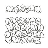 Cartoon alphabet in the style of comics. graffiti. royalty free illustration