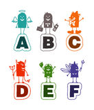 Cartoon alphabet - A to F royalty free illustration