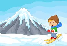 Cartoon alpine skier races extreme hill with iceberg. Illustration of Cartoon alpine skier races extreme hill with iceberg Stock Photos