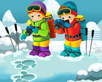 Cartoon alpinists Royalty Free Stock Image