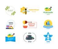 Cartoon Alternative Medicine Badges or Labels Set. Vector royalty free illustration