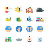Cartoon Alternative Medicine Colorful Icons Set. Vector Royalty Free Stock Photo