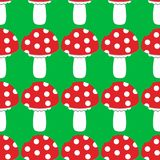 Cartoon Amanita muscaria fly agaric mushroom icon. Wild forest mushrooms vector illustration. Seamless pattern royalty free illustration