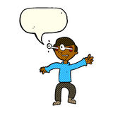 Cartoon amazed boy with speech bubble Royalty Free Stock Photo