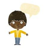 Cartoon amazed boy with speech bubble Stock Image