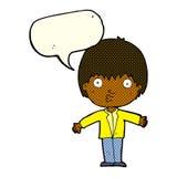 Cartoon amazed boy with speech bubble Stock Photo