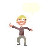 Cartoon amazed boy with speech bubble Royalty Free Stock Photography