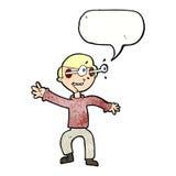 Cartoon amazed boy with speech bubble Stock Photos