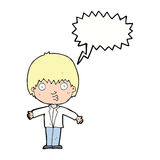 Cartoon amazed boy with speech bubble Royalty Free Stock Photos