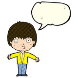 Cartoon amazed boy with speech bubble Royalty Free Stock Photo