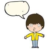Cartoon amazed boy with speech bubble Stock Images