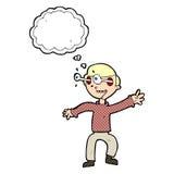 Cartoon amazed boy with thought bubble Stock Photo