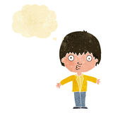 Cartoon amazed boy with thought bubble Stock Photography