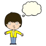 Cartoon amazed boy with thought bubble Royalty Free Stock Images