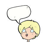 Cartoon amazed expression with speech bubble Stock Image