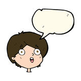 Cartoon amazed expression with speech bubble Stock Photo