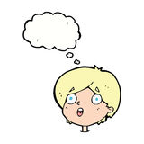 cartoon amazed expression with thought bubble Stock Images