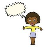Cartoon amazed woman with speech bubble Stock Photos