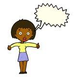Cartoon amazed woman with speech bubble Royalty Free Stock Photos
