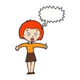 Cartoon amazed woman with speech bubble Stock Photo