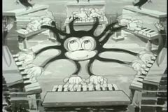 Cartoon ambidextrous octopus playing six pianos