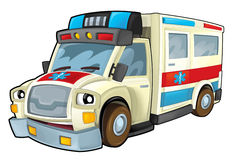 Cartoon ambulance Stock Photography