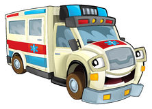 Cartoon ambulance. Beautiful illustration for the children Stock Image