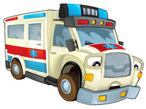 Cartoon ambulance. Beautiful illustration for the children Stock Photos