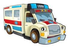 Cartoon ambulance - caricature Royalty Free Stock Photography