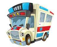 Cartoon ambulance - caricature Stock Images