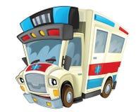 Cartoon ambulance - caricature Stock Images