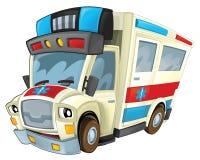 Cartoon ambulance - caricature Stock Photography