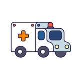 Cartoon ambulance illustration. Cartoon ambulance car vector illustration. Simple flat line icon isolated on white background Stock Image