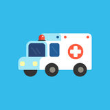 Cartoon ambulance illustration. Cartoon ambulance vector illustration. Cute and simple medical emergency car icon Royalty Free Stock Images