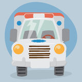 Cartoon Ambulance Truck Stock Photography