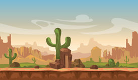 Cartoon america prairie desert landscape with cactus, hills and mountains. game seamless vector background. Interface for computer game illustration Royalty Free Stock Photo