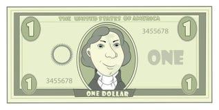 Cartoon American dollar. Ridiculous green monetary denomination with a portrait vector illustration