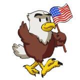 Cartoon American eagle holds American flag vector illustration
