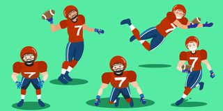 Cartoon american football players. On the grass Stock Images