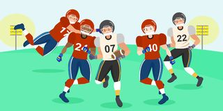 Cartoon american football players. On the grass Royalty Free Stock Photography