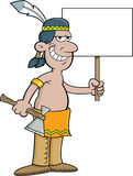 Cartoon American Indian holding a sign. Royalty Free Stock Photo