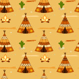 Cartoon american indian teepee seamless pattern illustration Royalty Free Stock Image
