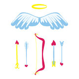 Cartoon Amour weapons set . Bow, wings, nimbus and arrows with heart. Cupids stuff.   Valentines Day romantic set. Vector Royalty Free Stock Photos