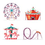 Cartoon amusement park attractions set. Ferris wheel, merry go round horse carousel, roller coaster and tent. Circus funfair festival kids entertainment design vector illustration