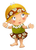 Cartoon ancient girl character isolated illustration for children Royalty Free Stock Image